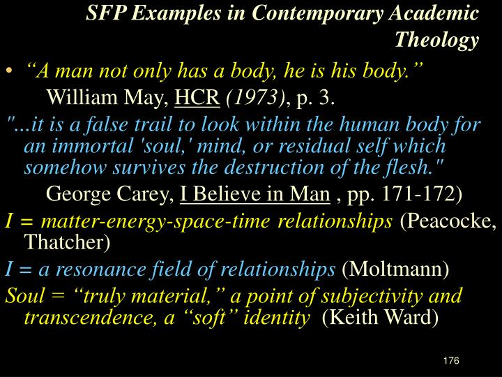 SFP Examples in Contemporary Academic Theology