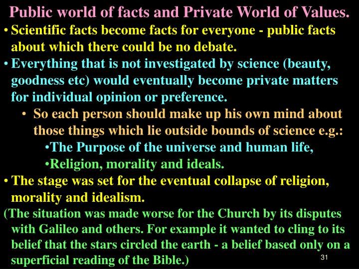 Public world of facts and Private World of Values.