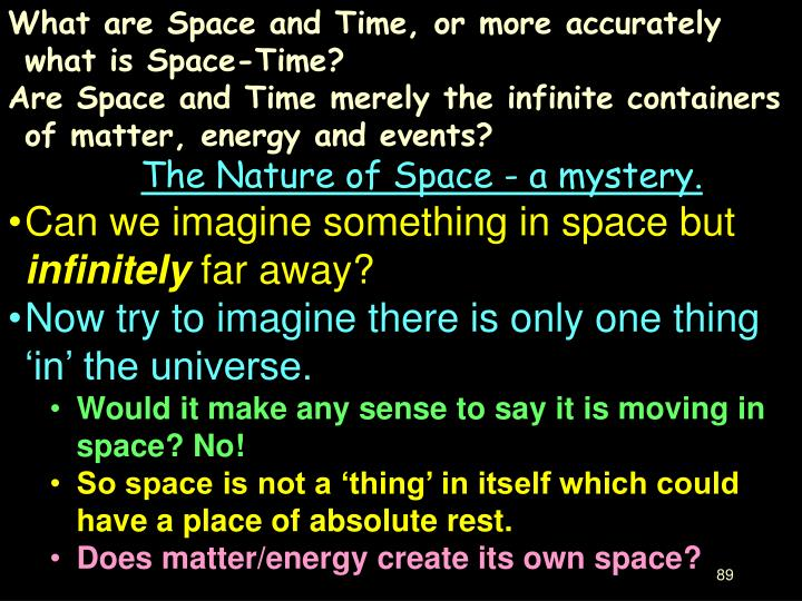What are Space and Time, or more accurately what is Space-Time?