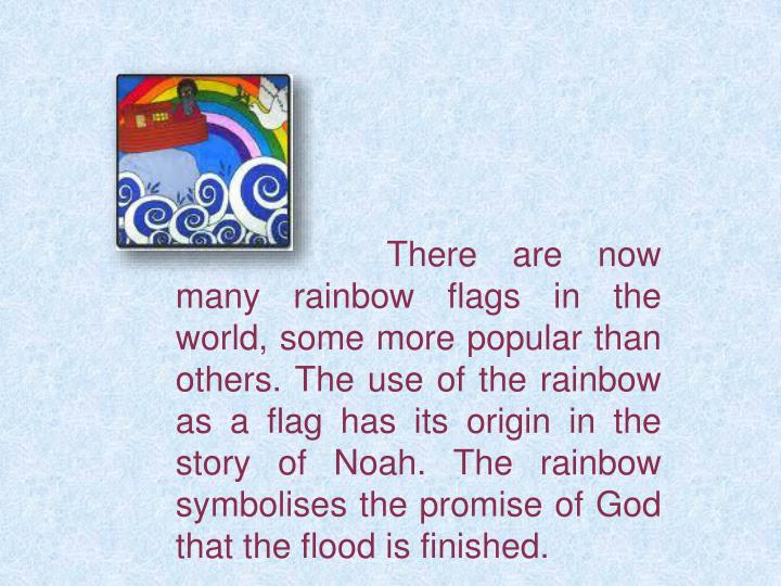 There are now many rainbow flags in the world, some more popular than others. The use of the rainbow as a flag has its origin in the story of Noah. The rainbow symbolises the promise of God that the flood is finished.