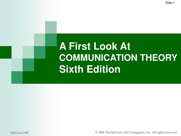 a first look at communication theory sixth edition n.