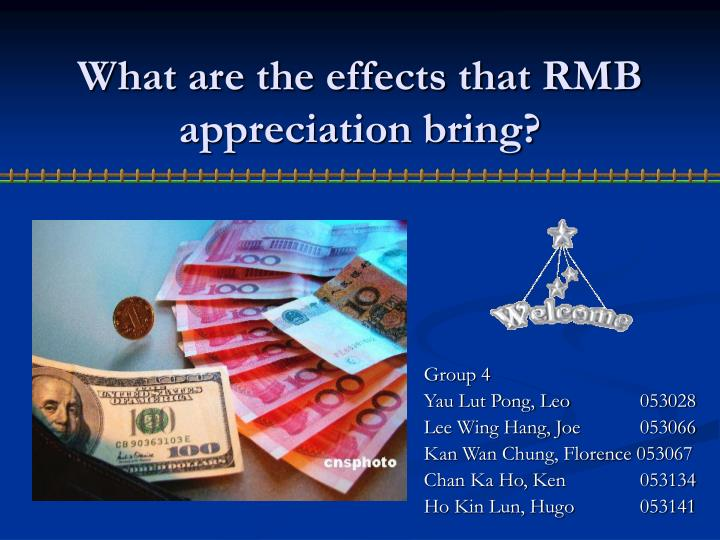 what are the effects that rmb appreciation bring n.