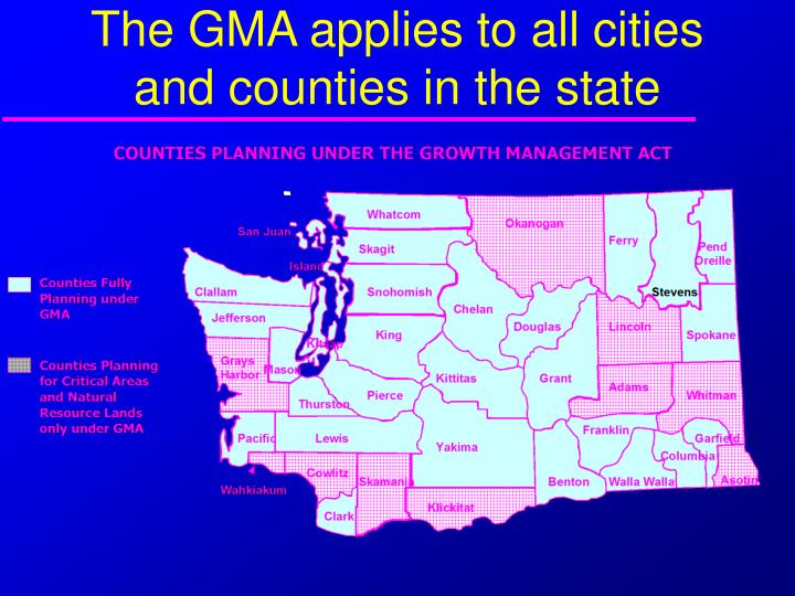 The GMA applies to all cities and counties in the state