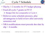 cycle 7 schedule