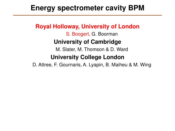 energy spectrometer cavity bpm n.