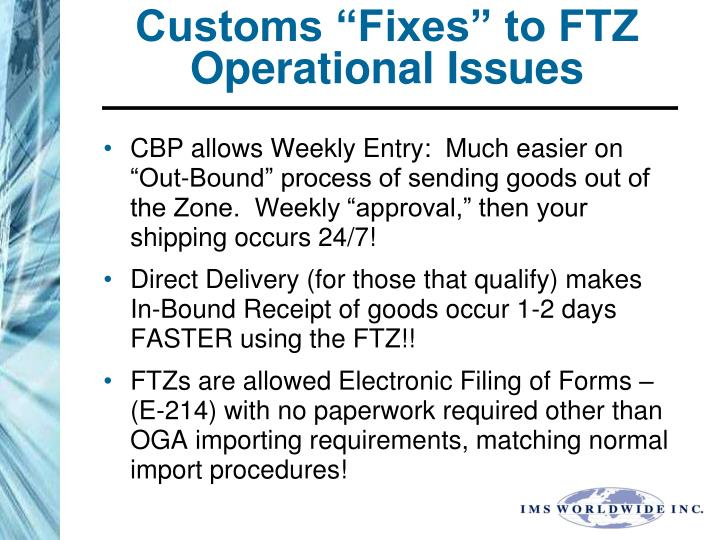 """Customs """"Fixes"""" to FTZ Operational Issues"""