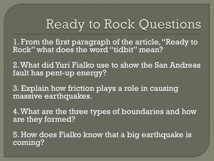 ready to rock questions n.