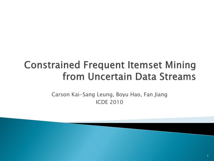 constrained frequent itemset mining from uncertain data streams n.