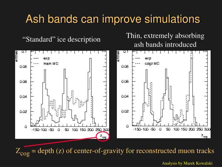 Ash bands can improve simulations