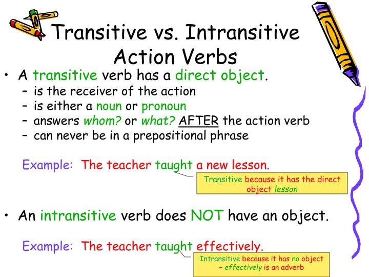 Ppt Action Verbs Transitive And Intransitive Direct And