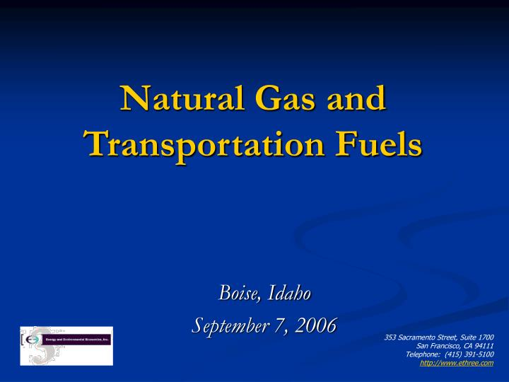 natural gas and transportation fuels n.