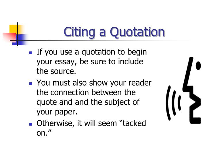 Citing a Quotation