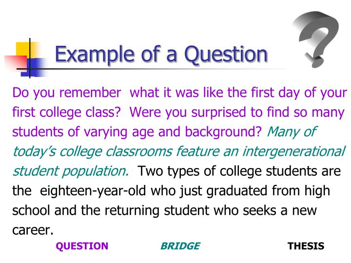 Example of a Question