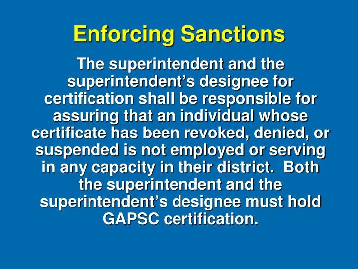Enforcing Sanctions