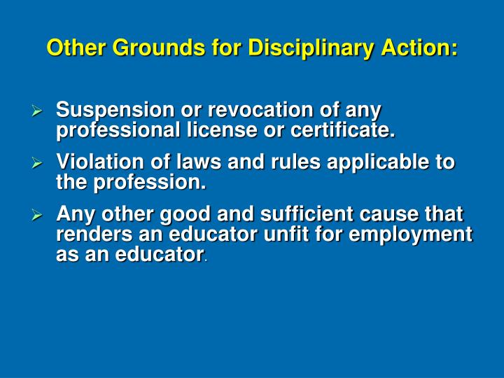 Other Grounds for Disciplinary Action: