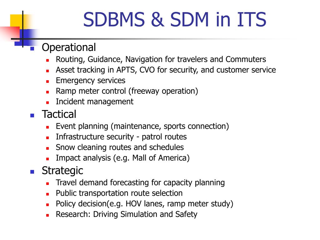 PPT - Spatial DBMS and Intelligent Transportation System