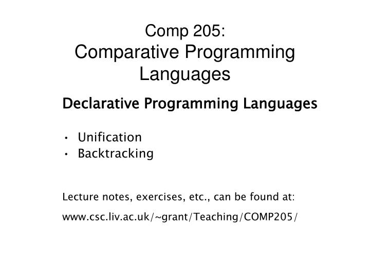 Comp 205 comparative programming languages