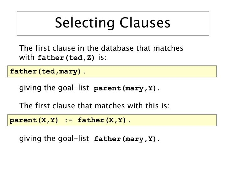 Selecting Clauses