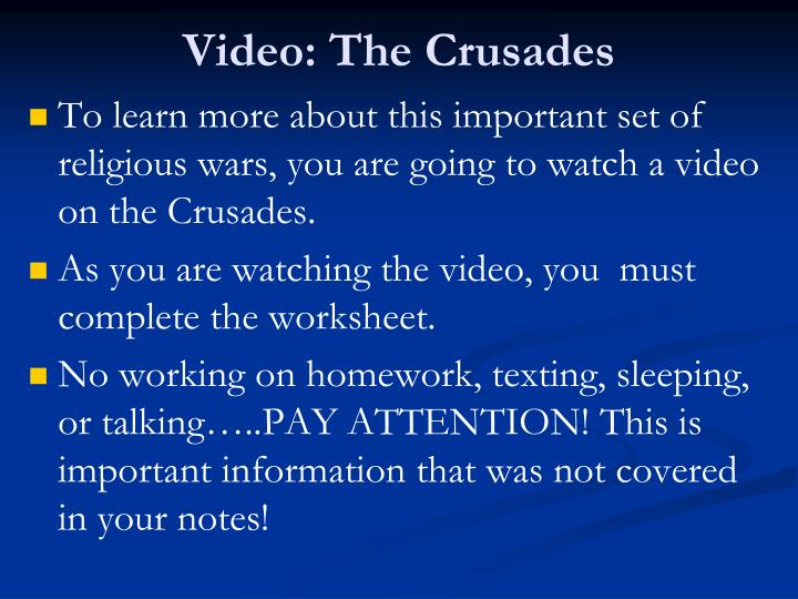 Video the crusades