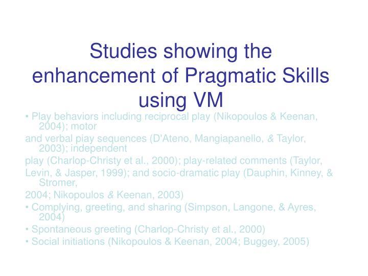 Studies showing the enhancement of Pragmatic Skills using VM