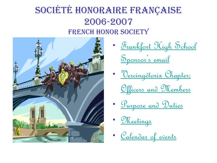 soci t honoraire fran aise 2006 2007 french honor society n.