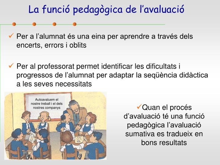 La funció pedagògica de l'avaluació