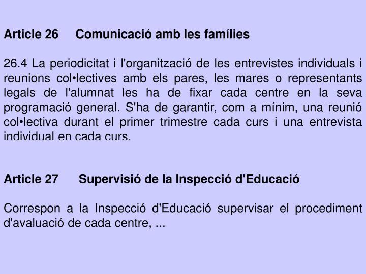 Article 26     Comunicació amb les famílies
