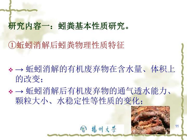 研究内容一:蚓粪基本性质研究。