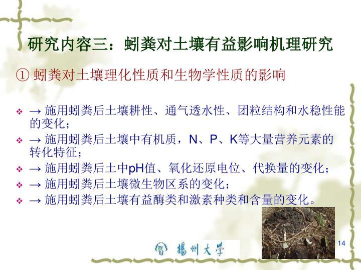 研究内容三:蚓粪对土壤有益影响机理研究
