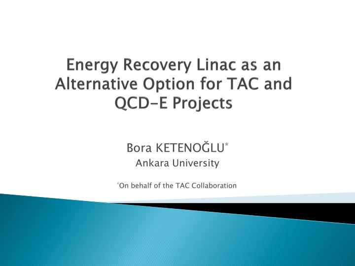 energy recovery linac as an alternative option for tac and qcd e projects n.