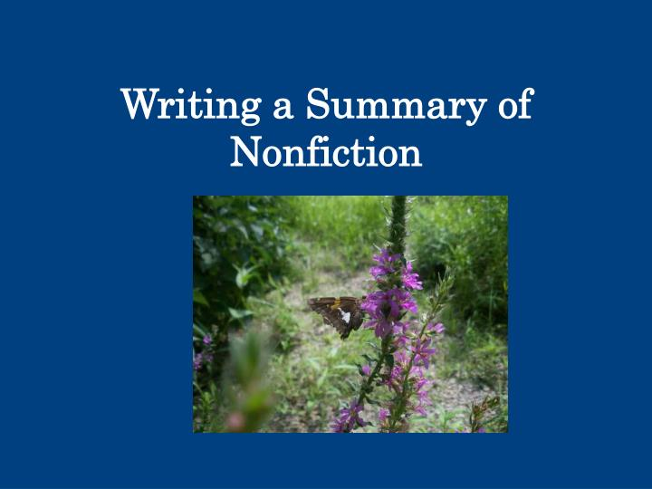 writing a summary of nonfiction n.