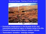 terrestrial change thawing of frozen ground