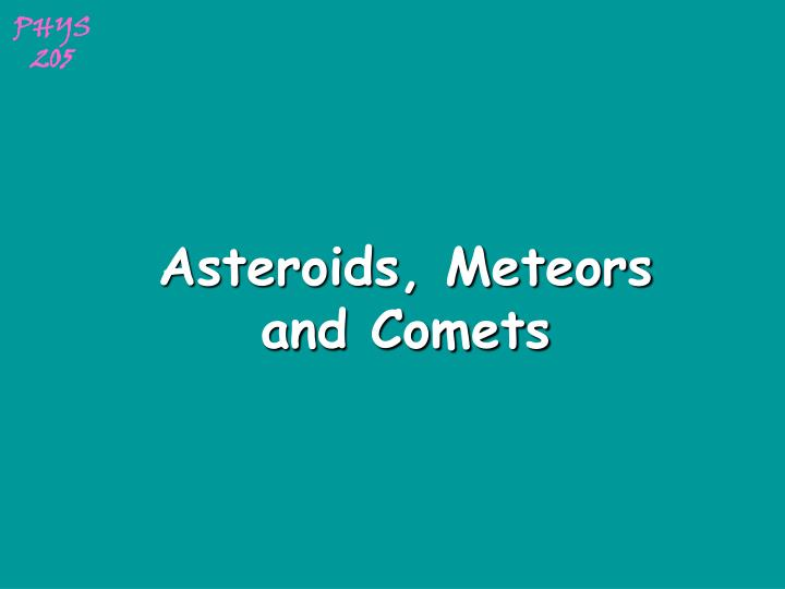 asteroids meteors and comets n.