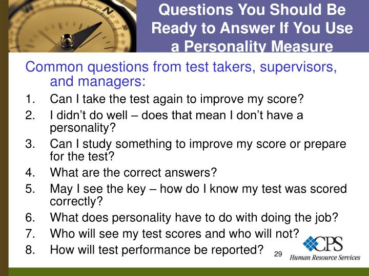 Questions You Should Be Ready to Answer If You Use   a Personality Measure