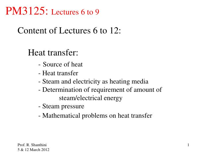 pm3125 lectures 6 to 9 n.