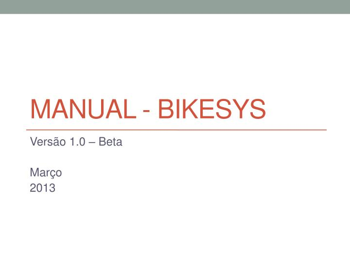 manual bikesys n.