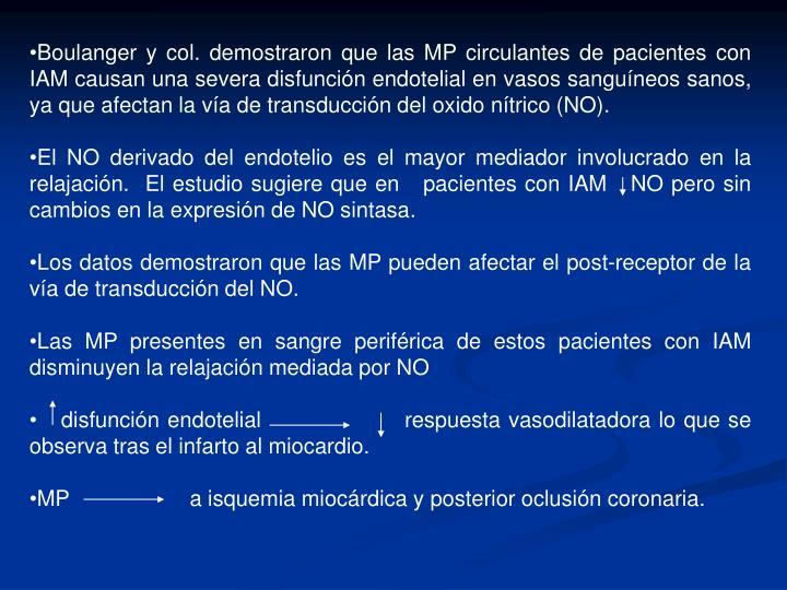 Boulanger y col. demostraron que las MP circulantes de pacientes con IAM causan una severa disfunción endotelial en vasos sanguíneos sanos, ya que afectan la vía de transducción del oxido nítrico (NO).