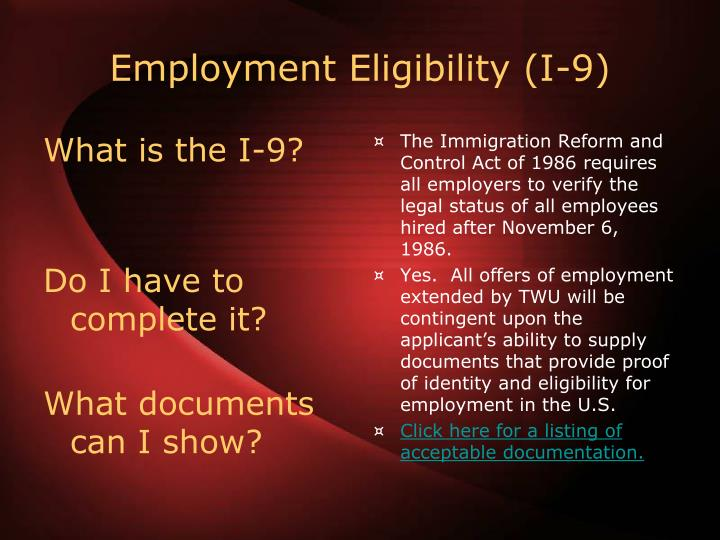 What is the I-9?