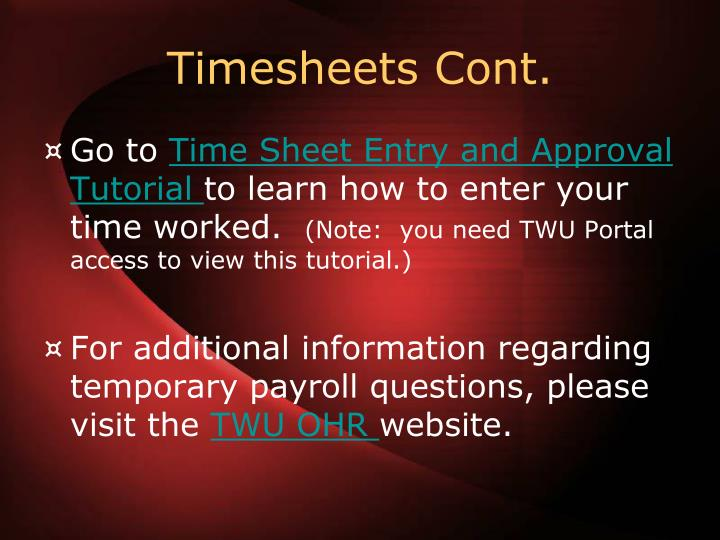Timesheets Cont.