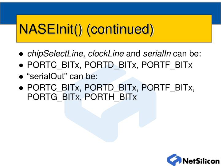 NASEInit() (continued)