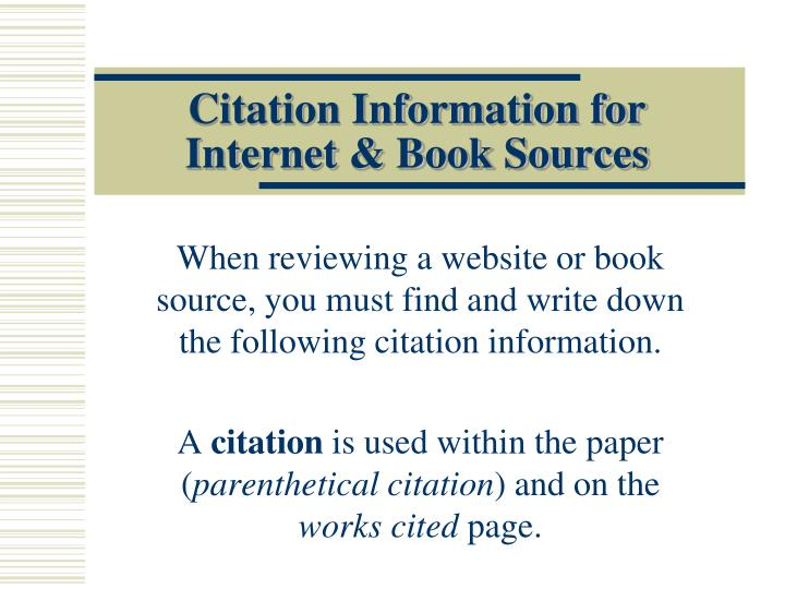 Ppt Citation Information For Internet Book Sources Powerpoint