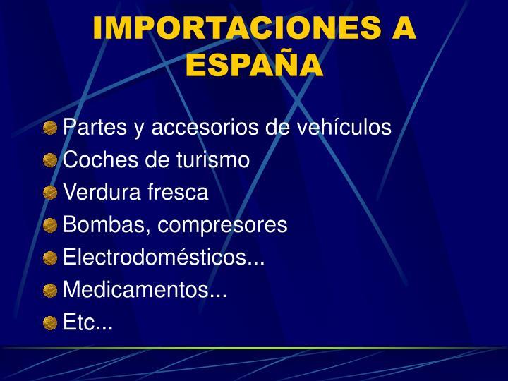 IMPORTACIONES A ESPAÑA