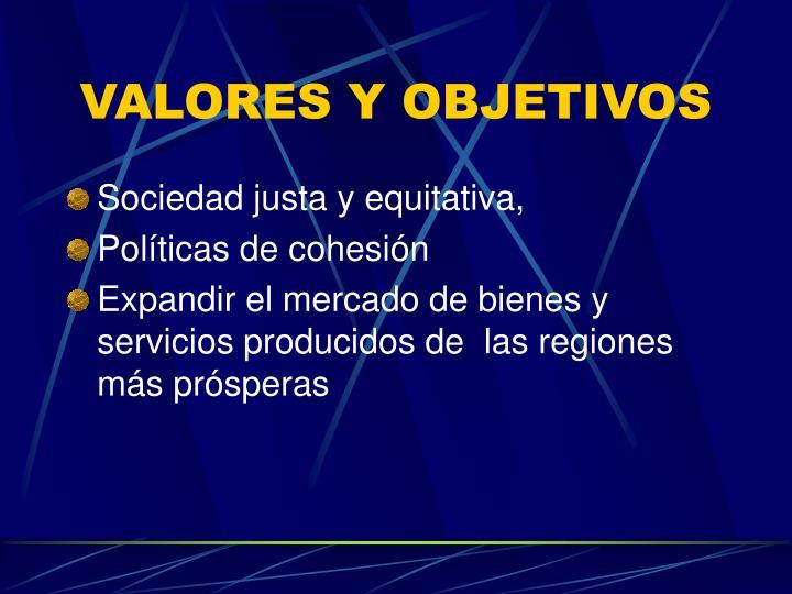 VALORES Y OBJETIVOS