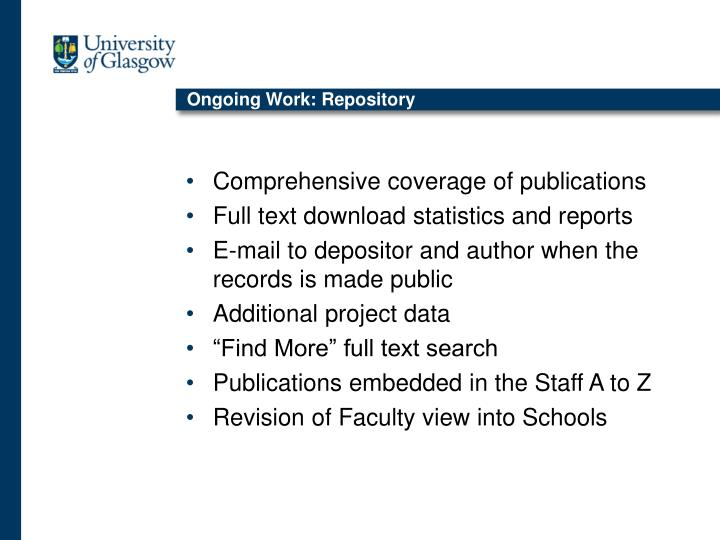 Ongoing Work: Repository