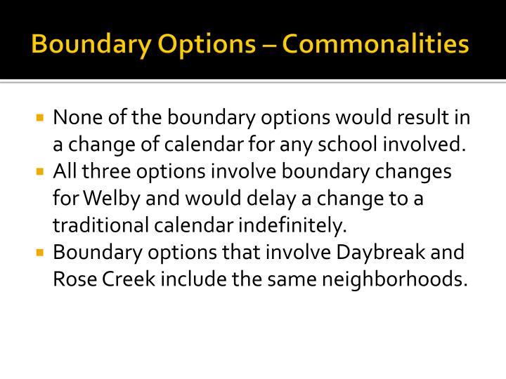Boundary Options – Commonalities