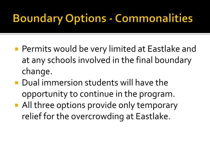 Boundary Options - Commonalities