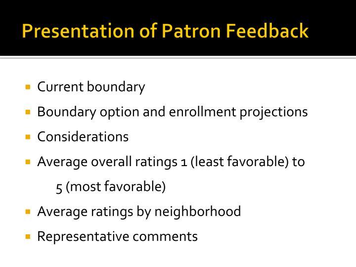 Presentation of Patron Feedback
