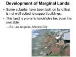 development of marginal lands