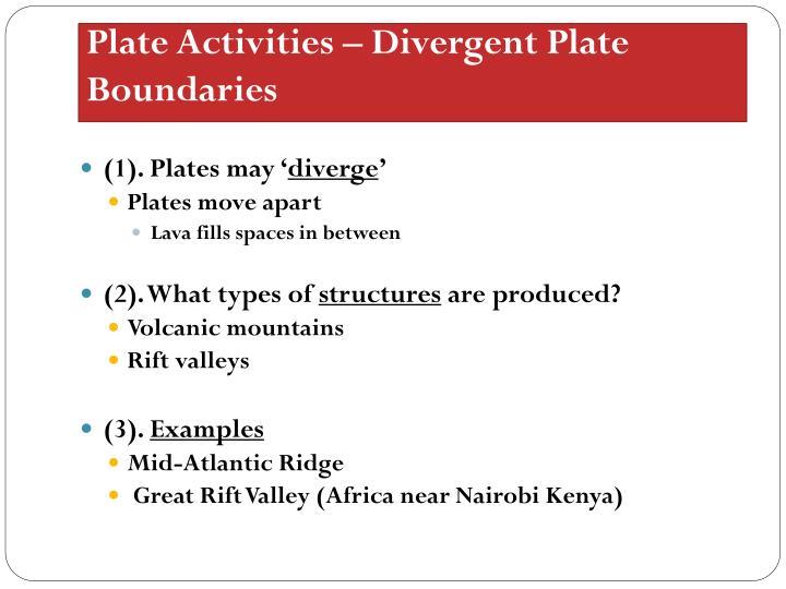 Plate Activities – Divergent Plate Boundaries