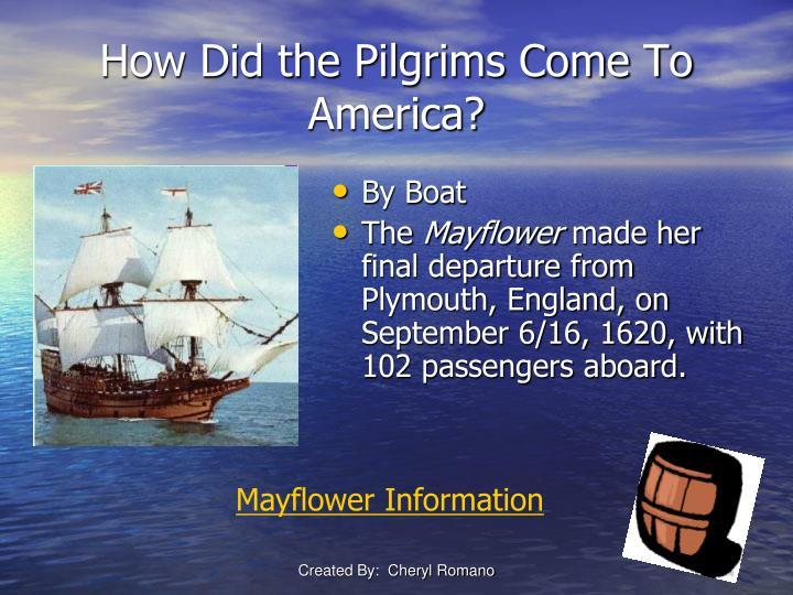 the mayflower carried the first pilgrims to america Mayflower, in american colonial history, the ship that carried the pilgrims from england to plymouth, massachusetts, where they established the first permanent new england.